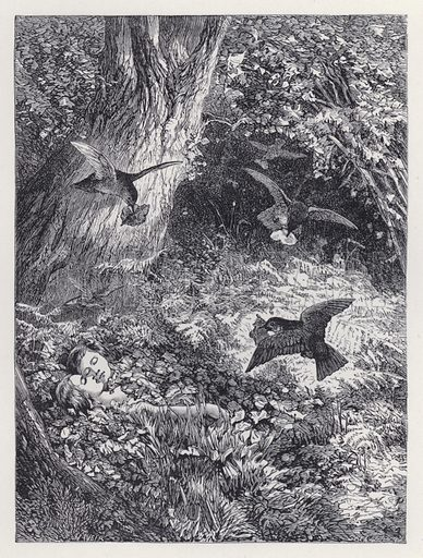 The Children in the Wood. Illustration for The History of the Robins by Mrs Trimmer (Griffith and Farran, 1869).