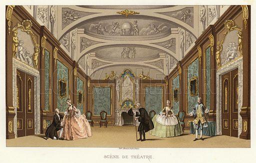 Scene de Theatre. Illustration for Dictionnaire du Theatre by Arthur Pougin (Alcide Picard et Kaan, 1884).