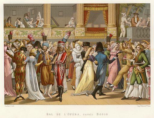 Bal de l'Opera, d'apres Bosio. Illustration for Dictionnaire du Theatre by Arthur Pougin (Alcide Picard et Kaan, 1884).