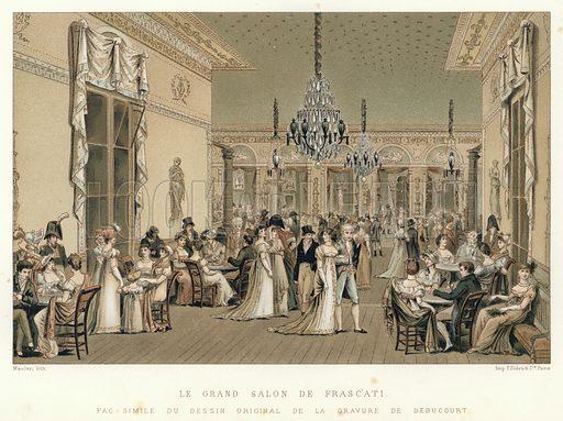 Le Grand Salon de Frascati. Fac-simile du dessin original de la gravure de Debucourt. Illustration for Dictionnaire du Theatre by Arthur Pougin (Alcide Picard et Kaan, 1884).