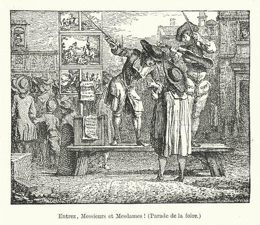 Entrez, Messieurs et Mesdames! (Parade de la foire). Illustration for Dictionnaire du Theatre by Arthur Pougin (Alcide Picard et Kaan, 1884).