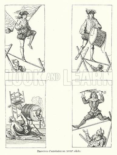 Excercices d'acrobates au XVIIIe siecle. Illustration for Dictionnaire du Theatre by Arthur Pougin (Alcide Picard et Kaan, 1884).