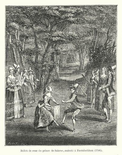Ballet de cour du prince de Salerne, execute a Fontainebleau, 1746. Illustration for Dictionnaire du Theatre by Arthur Pougin (Alcide Picard et Kaan, 1884).