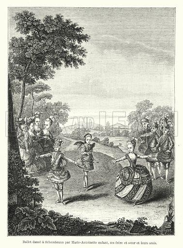Ballet danse a Schoenbrunn par Marie-Antoinette enfant, ses frere et soeur et leurs amis. Illustration for Dictionnaire du Theatre by Arthur Pougin (Alcide Picard et Kaan, 1884).