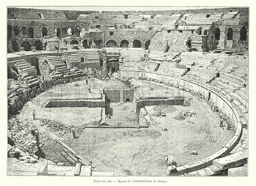 Restes de l'amphitheatre de Nimes. Illustration for Dictionnaire du Theatre by Arthur Pougin (Alcide Picard et Kaan, 1884).