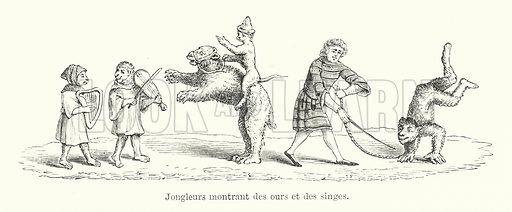 Jongleurs montrant des ours et des singes. Illustration for Dictionnaire du Theatre by Arthur Pougin (Alcide Picard et Kaan, 1884).