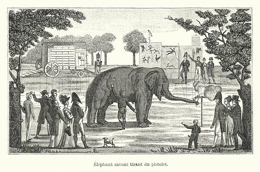 Elephant savant tirant du pistolet. Illustration for Dictionnaire du Theatre by Arthur Pougin (Alcide Picard et Kaan, 1884).