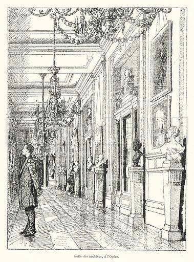 Salle des archives, a l'Opera. Illustration for Dictionnaire du Theatre by Arthur Pougin (Alcide Picard et Kaan, 1884).