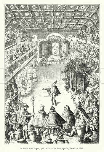 Le Ballet de la Royne, par Balthazar de Beaujoyeulx, danse en 1581. Illustration for Dictionnaire du Theatre by Arthur Pougin (Alcide Picard et Kaan, 1884).