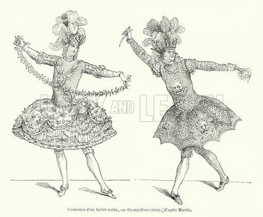Costumes d'un ballet noble, au dix-septieme siecle, d'apres Martin. Illustration for Dictionnaire du Theatre by Arthur Pougin (Alcide Picard et Kaan, 1884).