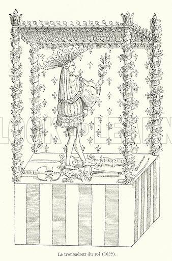 Le troubadour du roi, 1622. Illustration for Dictionnaire du Theatre by Arthur Pougin (Alcide Picard et Kaan, 1884).