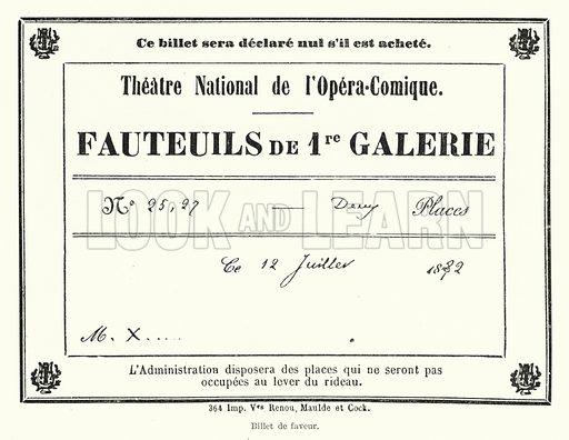 364 Imp Ves Renou, Maulde et Cock. Billet de faveur. Illustration for Dictionnaire du Theatre by Arthur Pougin (Alcide Picard et Kaan, 1884).