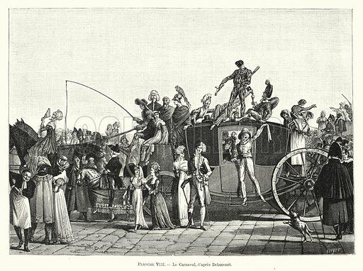 Le Carnaval, d'apres Debucourt. Illustration for Dictionnaire du Theatre by Arthur Pougin (Alcide Picard et Kaan, 1884).