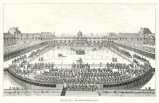 Le grand carrousel de 1662. Illustration for Dictionnaire du Theatre by Arthur Pougin (Alcide Picard et Kaan, 1884).