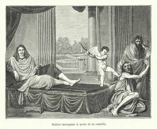 Moliere invoquant le genie de la comedie. Illustration for Dictionnaire du Theatre by Arthur Pougin (Alcide Picard et Kaan, 1884).