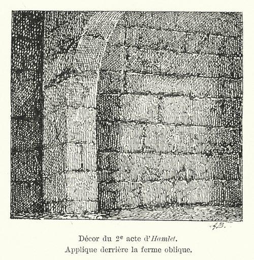 Decor du 2e acte d'Hamlet. Applique derriere la ferme oblique. Illustration for Dictionnaire du Theatre by Arthur Pougin (Alcide Picard et Kaan, 1884).