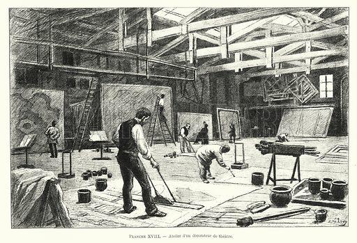 Atelier d'un decorateur de theatre. Illustration for Dictionnaire du Theatre by Arthur Pougin (Alcide Picard et Kaan, 1884).
