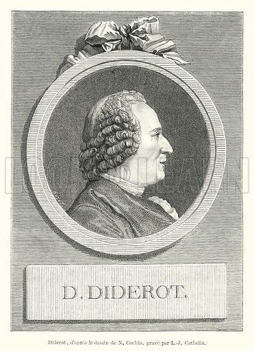 Diderot, d'apres le dessin de N Cochin, grave par L-J Cathelin. Illustration for Dictionnaire du Theatre by Arthur Pougin (Alcide Picard et Kaan, 1884).