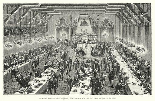Grand festin d'apparat, avec entremets, a la cour de France, au quatorzieme siecle. Illustration for Dictionnaire du Theatre by Arthur Pougin (Alcide Picard et Kaan, 1884).