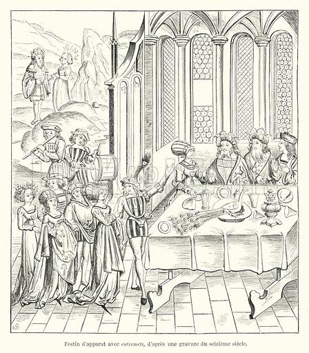 Festin d'apparat avec entremets, d'apres une gravure du seizieme siecle. Illustration for Dictionnaire du Theatre by Arthur Pougin (Alcide Picard et Kaan, 1884).