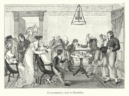 Un escamoteur, sous le Directoire. Illustration for Dictionnaire du Theatre by Arthur Pougin (Alcide Picard et Kaan, 1884).