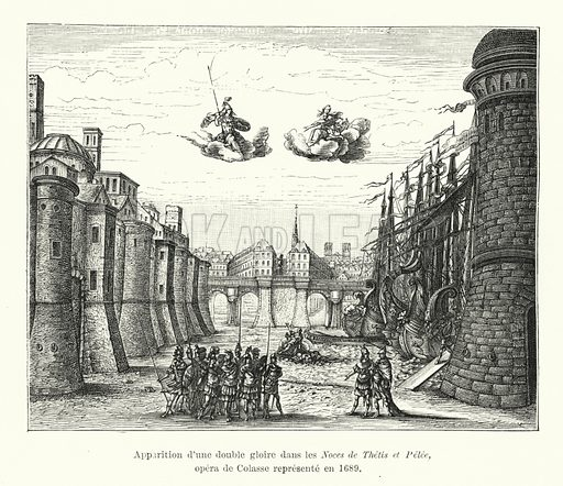 Apparition d'une double glorie dans les Noces de Thetis et Pelee, opera de Colasse represente en 1689. Illustration for Dictionnaire du Theatre by Arthur Pougin (Alcide Picard et Kaan, 1884).