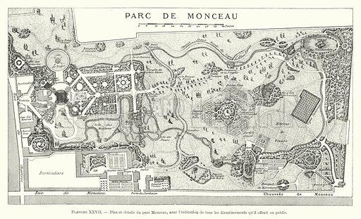 Plan et details du parc Monceau, avec l'indication de tous les divertissements qu'il offrait au public. Illustration for Dictionnaire du Theatre by Arthur Pougin (Alcide Picard et Kaan, 1884).