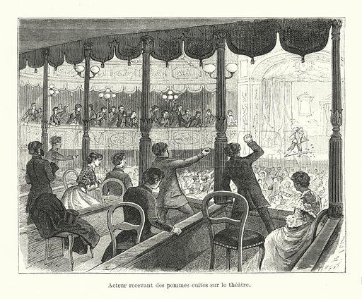 Acteur recevant des pommes cuites sur le theatre. Illustration for Dictionnaire du Theatre by Arthur Pougin (Alcide Picard et Kaan, 1884).