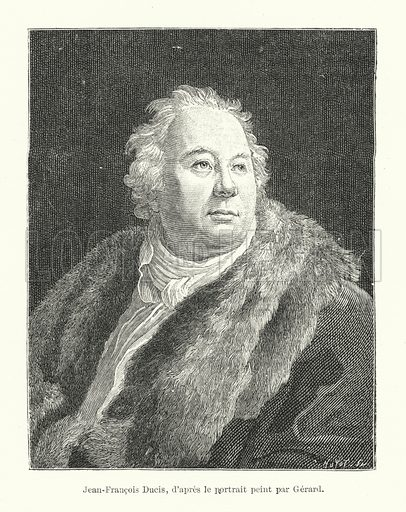 Jean-Francois Ducis, d'apres le portrait peint par Gerard. Illustration for Dictionnaire du Theatre by Arthur Pougin (Alcide Picard et Kaan, 1884).
