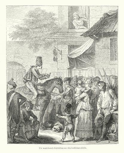 Un marchand d'orvietan au dix-huitieme siecle. Illustration for Dictionnaire du Theatre by Arthur Pougin (Alcide Picard et Kaan, 1884).