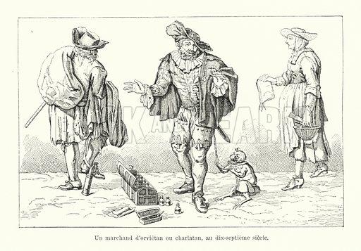 Un marchand d'orvietan ou charlatan, au dix-septieme siecle. Illustration for Dictionnaire du Theatre by Arthur Pougin (Alcide Picard et Kaan, 1884).