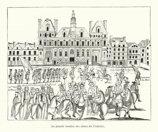 La grande montre des clercs du Chatelet. Illustration for Dictionnaire du Theatre by Arthur Pougin (Alcide Picard et Kaan, 1884).