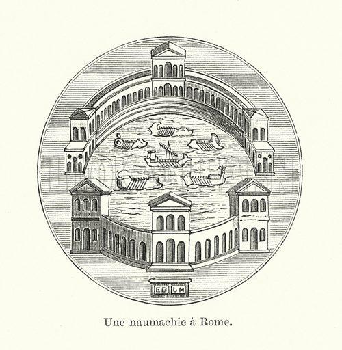 Une naumachie a Rome. Illustration for Dictionnaire du Theatre by Arthur Pougin (Alcide Picard et Kaan, 1884).