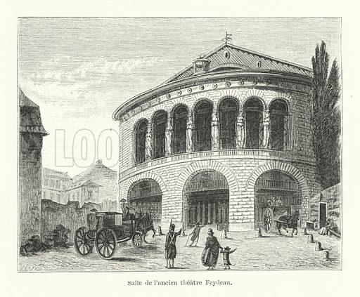 Salle de l'ancien theatre Feydeau. Illustration for Dictionnaire du Theatre by Arthur Pougin (Alcide Picard et Kaan, 1884).