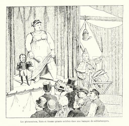 Les phenomenes. Nain et femme geante exhibes dans une baraque de saltimbanques. Illustration for Dictionnaire du Theatre by Arthur Pougin (Alcide Picard et Kaan, 1884).