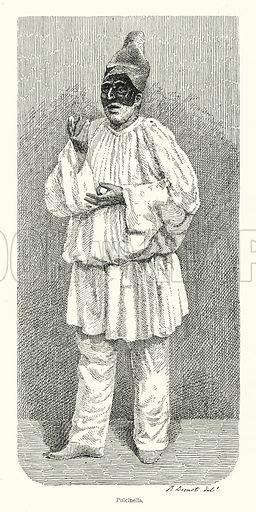 Pulcinella. Illustration for Dictionnaire du Theatre by Arthur Pougin (Alcide Picard et Kaan, 1884).