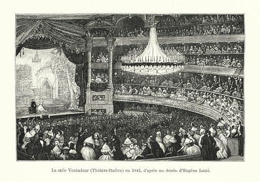 La salle Ventadour, Theatre-Italien, en 1843, d'apres un dessin d'Eugene Lami. Illustration for Dictionnaire du Theatre by Arthur Pougin (Alcide Picard et Kaan, 1884).