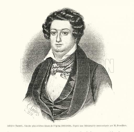 Adolphe Nourrit, l'un des plus celebres tenors de l'Opera, 1802-1839, d'apres une lithographic communiquee par M Dessolliers. Illustration for Dictionnaire du Theatre by Arthur Pougin (Alcide Picard et Kaan, 1884).