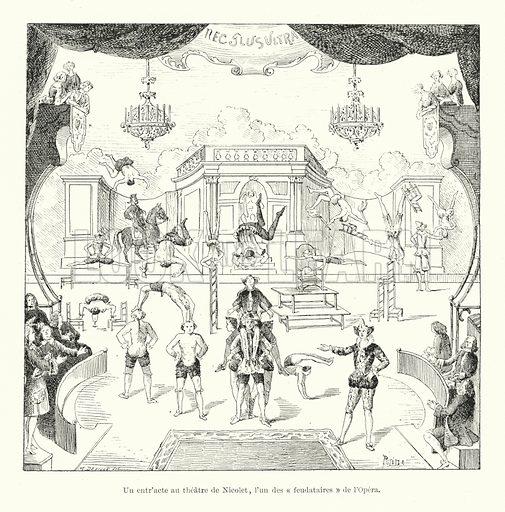 Un entr'acte au theatre de Nicolet, l'un des feudataires de l'Opera. Illustration for Dictionnaire du Theatre by Arthur Pougin (Alcide Picard et Kaan, 1884).