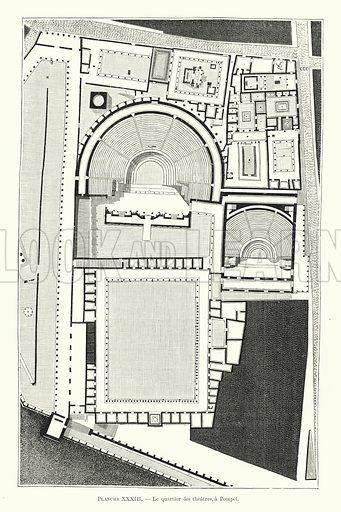 Le quartier des theatres, a Pompei. Illustration for Dictionnaire du Theatre by Arthur Pougin (Alcide Picard et Kaan, 1884).