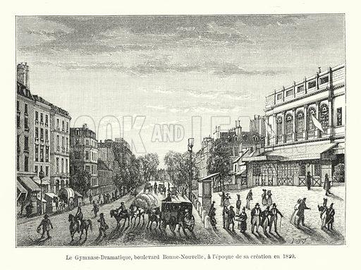 Le Gymnase-Dramatique, boulevard Bonne-Nouvelle, a l'epoque de sa creation en 1820. Illustration for Dictionnaire du Theatre by Arthur Pougin (Alcide Picard et Kaan, 1884).