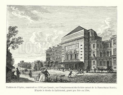 Theatre de l'Opera, construit en 1781 par Lenoir, sur l'emplacement du theatre actuel de la Porte-Saint-Martin. D'apres le dessin de Lallemand, grave par Nee en 1788. Illustration for Dictionnaire du Theatre by Arthur Pougin (Alcide Picard et Kaan, 1884).