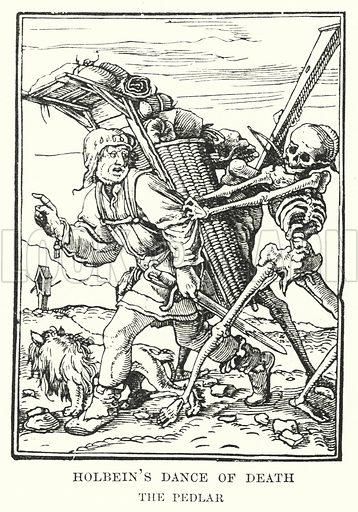 Holbein's Dance of Death. Illustration for A Brief History of Wood-engraving from its invention by Joseph Cundall (Sampson Low, 1895).