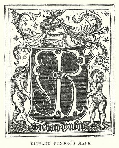 Richard Pynson's Mark. Illustration for A Brief History of Wood-engraving from its invention by Joseph Cundall (Sampson Low, 1895).