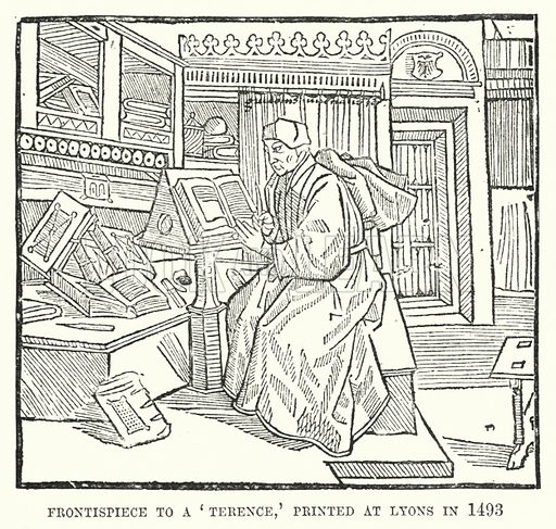Frontispiece to a 'Terence,' printed at Lyons in 1493. Illustration for A Brief History of Wood-engraving from its invention by Joseph Cundall (Sampson Low, 1895).