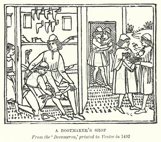 A Bootmaker's Shop. Illustration for A Brief History of Wood-engraving from its invention by Joseph Cundall (Sampson Low, 1895).