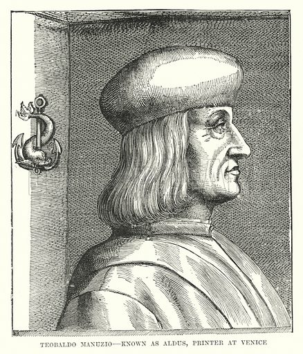 Teobaldo Manuzio, known as Aldus, printer at Venice. Illustration for A Brief History of Wood-engraving from its invention by Joseph Cundall (Sampson Low, 1895).