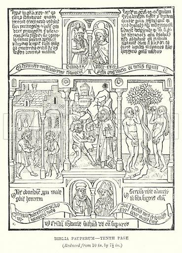 Biblia Pauperum, Tenth Page. Illustration for A Brief History of Wood-engraving from its invention by Joseph Cundall (Sampson Low, 1895).
