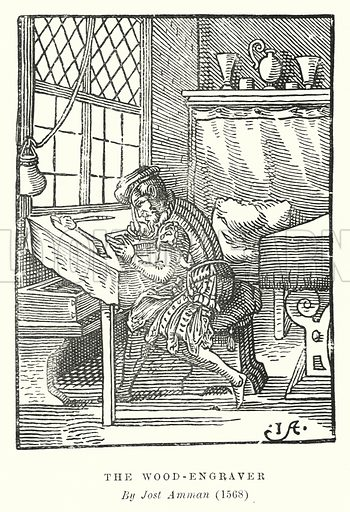 The Wood-Engraver. Illustration for A Brief History of Wood-engraving from its invention by Joseph Cundall (Sampson Low, 1895).
