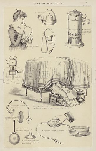 Nursery appliances. Illustration for The Household Physician by J M'Gregor-Robertson (Blackie, c 1870).
